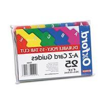 * Card Guides, Alpha, 1/5 Tab, Polypropylene, 5 x 8, 25/Set