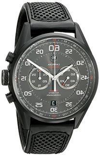 Tag Heuer Carrera Black Dial Black Leather Mens Watch