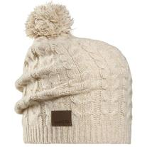 Chaos Women's Cashmere Beanie with Cable Pom, Heather Grey,