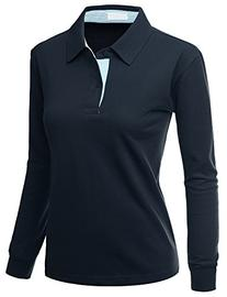 Womens Casual Basic Sporty Long Sleeve Polo Collar Top BLUE