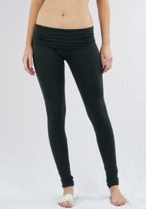 Casual Cotton Spandex Fold Over Waist Leggings Junior Sizing