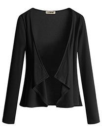 Doublju Jersey Knit Draped Open Front Cardigan  BLACK LARGE