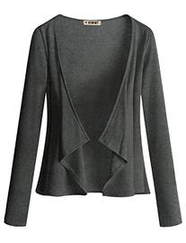 Doublju Jersey Knit Draped Open Front Cardigan  CHARCOAL X