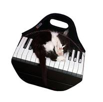 Cat on piano Soft Friendly Insulated Lunch box Food Bag