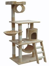 "Go Pet Club 62"" Cat Tree Condo Furniture Beige Color"