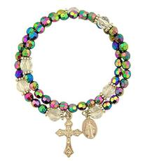 CB Catholic Purple Wrap Style Rosary Bracelet with Dangle