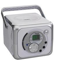 Jensen CD-555 White/Silver CD Bluetooth Boombox Portable