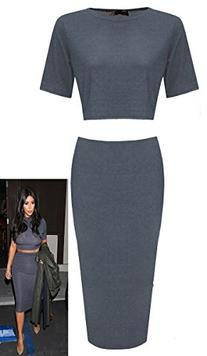 Crazy Girls Women Ladies Celebrity Kim Inspired Two Piece