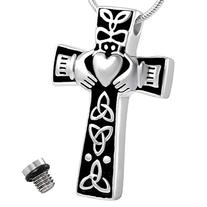Celtic Cross Claddagh Urn Necklace for Ashes - Cremation
