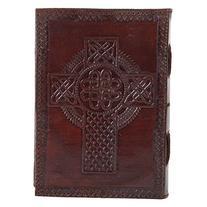 Celtic Cross Embossed Leather Journal Gifts for Men Women