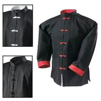 Century Kung Fu Top Separate Black with Red Frogs Size 8