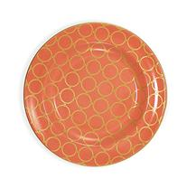 222 Fifth 6.5-inch Chain Link Saucer, Coral & Gold