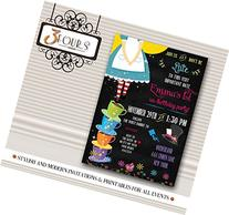 Chalkboard Alice in Wonderland Birthday Party Invitations