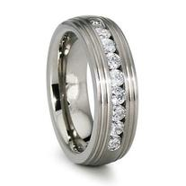 Channel Set 8mm CZ Titanium Wedding Band