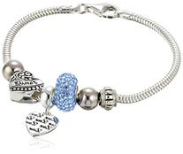 CHARMED BEADS Sterling Silver Blue Crystal Love and Family