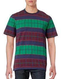 Stussy Check Cotton T-Shirt-NAVY-Small