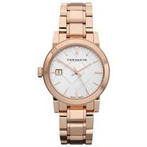 Burberry Check Stamped Rose Gold-Tone Ladies Watch BU9034