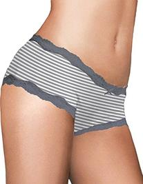 Maidenform Cheeky Scalloped Lace Hipster_Steel Grey Stripe_5