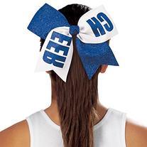 Chassé Girls' Cheer Performance Hair Bow Glitter Aqua/White