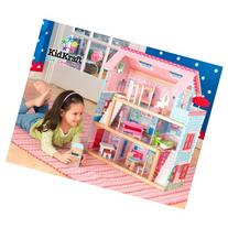 KidKraft Chelsea Wooden Doll Cottage with 17 Pieces of