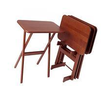 Cherry Wood Folding Tray Tables Set of 4, Rectangular -