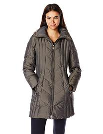 Anne Klein Women's 35 Inch Chevron Down Coat with Faux Fur