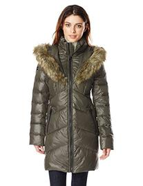 kensie women's chevron down coat with heart faux fur lined