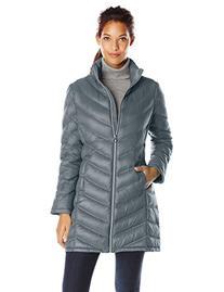 Calvin Klein Women's Chevron Packable Down Coat, Shale, Small