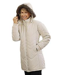 totes Chevron Quilted Coat, Ivory, X-Large