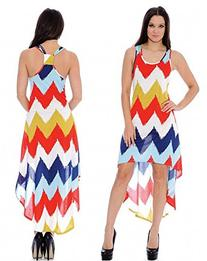 Enimay Women's High Low Chevron Summer Sleeveless Racerback