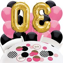 Chic 30th Birthday - Pink, Black and Gold - Confetti and