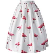 Chicwish Chic Flamingos Pleated A-line Skirt