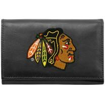 NHL Chicago Blackhawks Embroidered Genuine Leather Trifold