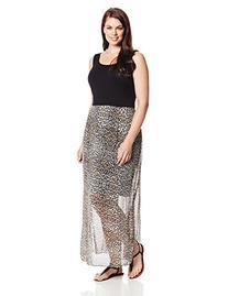 Vince Camuto Women's Plus-Size Chiffon Overlay Des Leopard