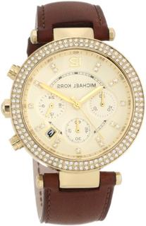 Michael Kors Chronograph Gold Dial Crystal set Ladies Watch