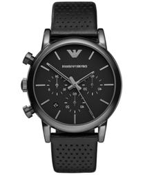 Emporio Armani Men's Chronograph Perforated Black Leather