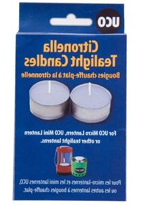 UCO Long Burning Tealight Candles for Emergency Preparedness, Citronella, 6-Pack