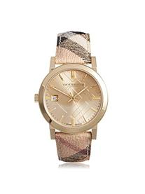Burberry The City Champagne Dial Haymarket Check Strap