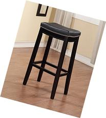Claridge Black PU Bar Stool with Black Finish Legs