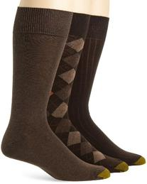 Gold Toe Men's Classic Argyle Sock, 3 Pack, Brown Diamond/