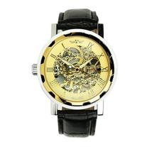 Classic Mens Black Leather Gold Dial Skeleton Mechanical