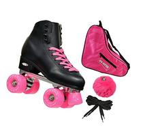 New! Epic Classic Black & Pink High-Top Quad Roller Skate