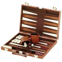 Classic Brown & White Backgammon Set