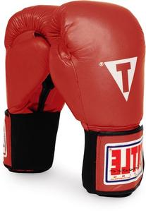 TITLE Classic Hook-and-Loop Leather Training Gloves, Red, 14