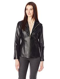Cole Haan Women's Classic Leather Jacket, Black, Small
