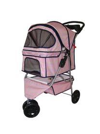 BestPet Plaid 3-Wheel Pet Stroller, Classic Pink