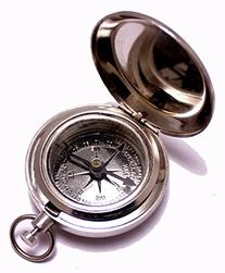 "1.75"" Classic Pocket Antique Style Camping Chrome Compass"