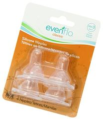 Evenflo 4 Pack Classic Silicone Nipple, Fast Flow