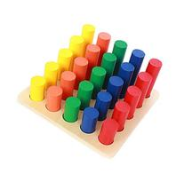 Vidatoy Classic Wooden Colorful Cylinder Ladder Montessori