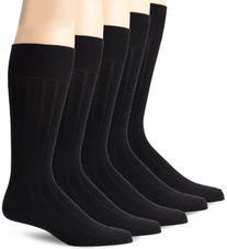 Dockers Men's 5 Pack Classics Classic Rib Crew Socks, Black, Sock Size:10-13/Shoe Size: 6-12